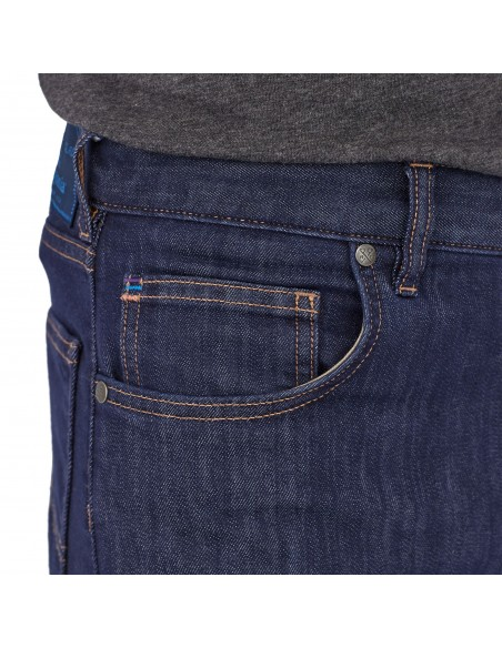 Patagonia Mens Performance Straight Fit Jeans Regular Dark Denim Onbody Front Detail